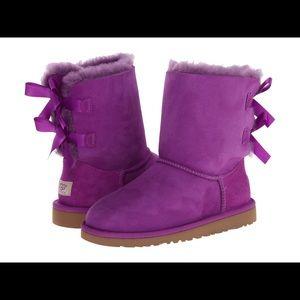 UGG Kids Girls Bailey Bow Suede Purple Size 6 US